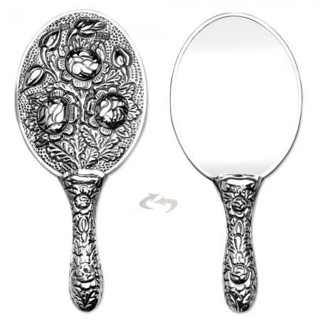 Tesbihane - 925 Ayar Gümüş Çiçek Tasarımlı Ayna 003 Model 3