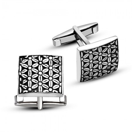 - 925 Ayar Gümüş Çiçek Tasarımlı Kare Model Kol Düğmesi