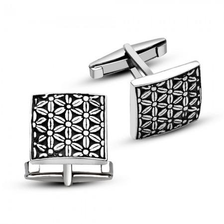 Tesbihane - 925 Ayar Gümüş Çiçek Tasarımlı Kare Model Kol Düğmesi
