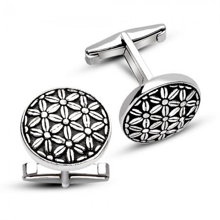 Tesbihane - 925 Ayar Gümüş Çiçekli Kol Düğmesi