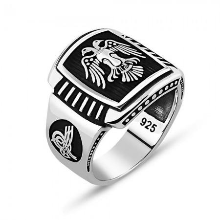 Tesbihane - Tuğra İşlemeli Dörtgen Çift Kartal Motifli 925 Ayar Gümüş Erkek Yüzük