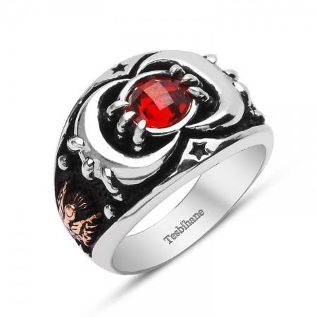 - 925 Ayar Gümüş Çift Hilal Pençeli (Kırmızı Zirkon) Taşlı Yüzük