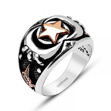 - 925 Ayar Gümüş Çift Hilal Yıldız Model Yüzük