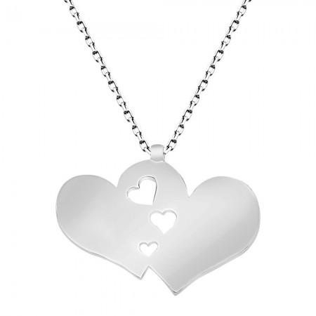 - 925 Ayar Gümüş Çift Kalp Tasarım Kolye