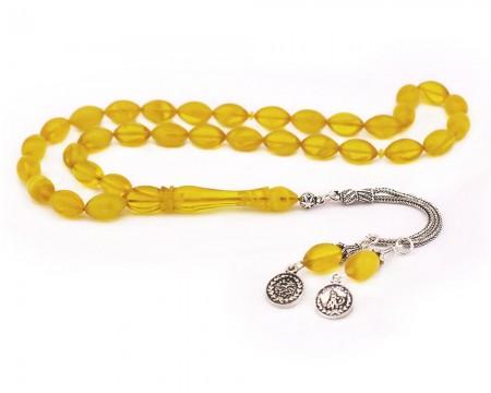 Tesbihane - 925 Ayar Gümüş Çift Tuğra Püsküllü Arpa Kesim Sarı Sıkma Kehribar Tesbih