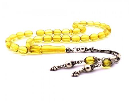Tesbihane - 925 Ayar Gümüş Çift Püskül Açık Sarı Renk Damla Kehribar Tesbih