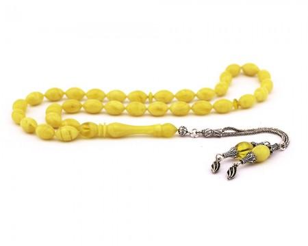 Tesbihane - 925 Ayar Gümüş Çift Püsküllü Arpa Kesim Sarı Sıkma Kehribar Tesbih (M-2)