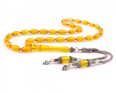 - 925 Ayar Gümüş Çift Püsküllü Arpa Kesim Sarı Sıkma Kehribar Tesbih (M-1)