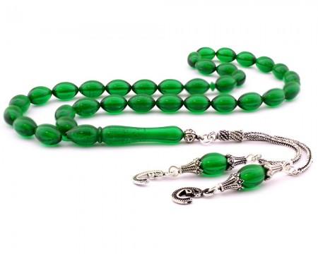 - 925 Ayar Gümüş Çift Vav Yeşil Sıkma Kehribar Tesbih