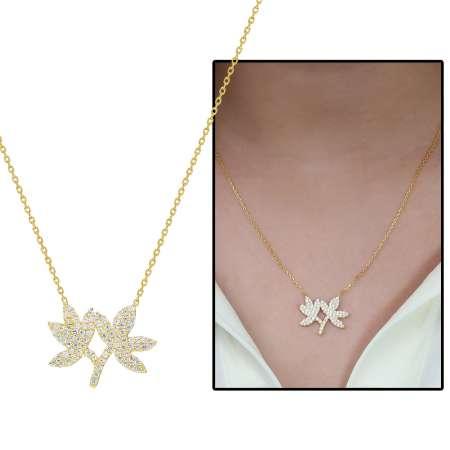 Tesbihane - Beyaz Zirkon Taşlı Çift Yaprak Tasarım 925 Ayar Gümüş Bayan Kolye