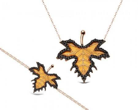 Tesbihane - 925 Ayar Gümüş Çınar Yaprağı Kolye ve Bileklik Kombini