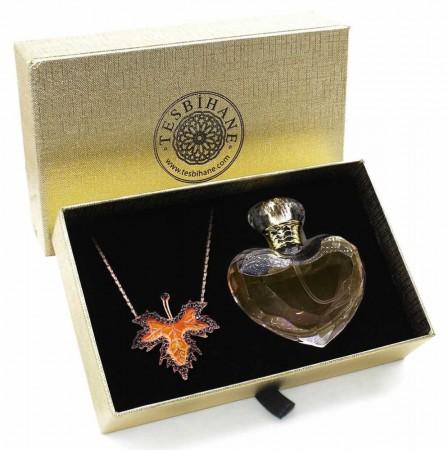 - 925 Ayar Gümüş Çınar Yaprağı Kolye ve Özel Parfüm Seti