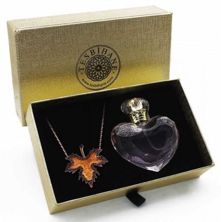 Tesbihane - 925 Ayar Gümüş Çınar Yaprağı Kolye ve Özel Parfüm Seti