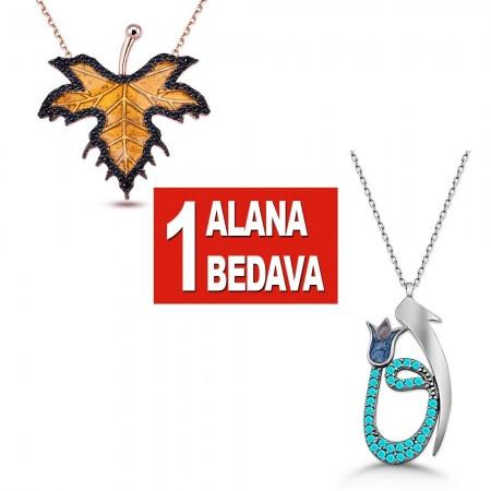 - 925 Ayar Gümüş Çınar Yaprağı ve Elif Vav Kolye
