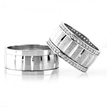 - Yatay Şerit Tasarım 925 Ayar Gümüş Çift Alyans