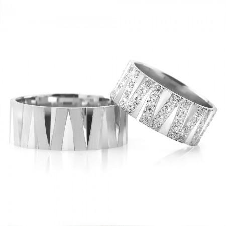 - 925 Ayar Gümüş Çizgi Tasarım Çift Alyans - Model 2