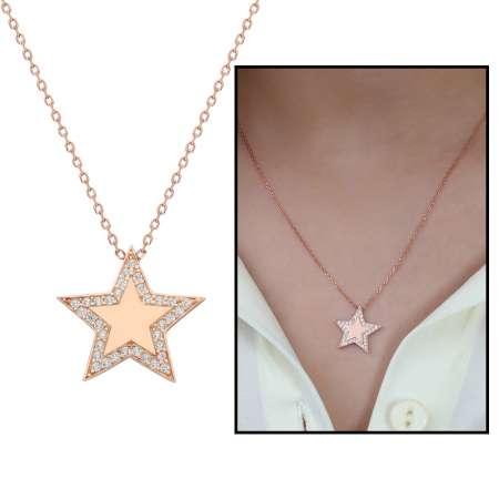 Tesbihane - Beyaz Zirkon Taşlı Çoban Yıldızı Tasarım 925 Ayar Gümüş Bayan Kolye