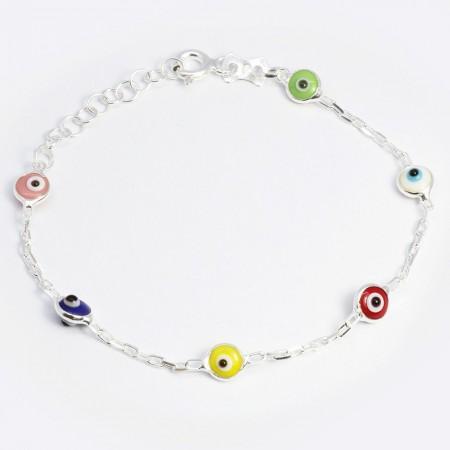 Tesbihane - 925 Ayar Gümüş Renkli Nazar Boncuklu Küre Tasarım Çocuk Bileklik