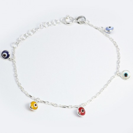 Tesbihane - 925 Ayar Gümüş Long Forsa Zincirli Renkli Göz Tasarım Çocuk Bileklik