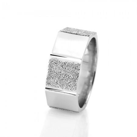 Tesbihane - Çokgen Tasarım 925 Ayar Gümüş Bayan Alyans