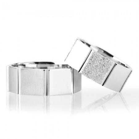 - Çokgen Tasarım 925 Ayar Gümüş Çift Alyans