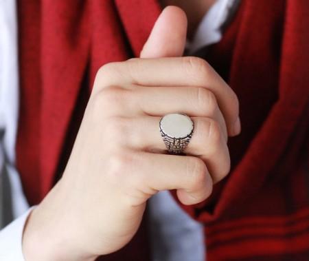 Tesbihane - 925 Ayar Gümüş Çukur Yüzüğü (1)