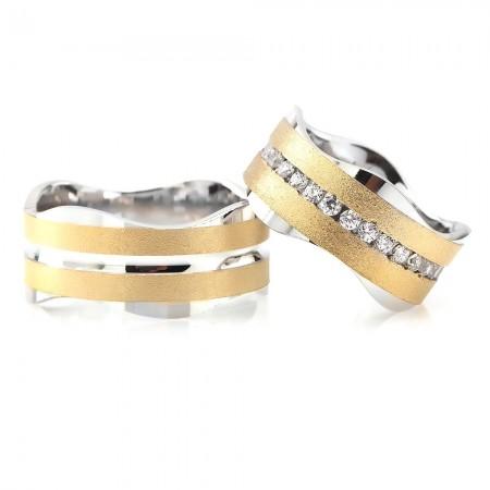 - Dalgalı Tasarım Çift Şeritli 925 Ayar Gümüş Çift Alyans