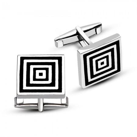 - 925 Ayar Gümüş Dalgalı Kare Kol Düğmesi