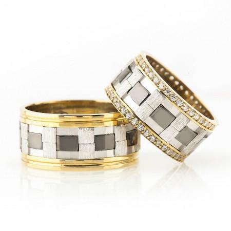 - Damalı Tasarım Çift Şerit 925 Ayar Gümüş Çift Alyans