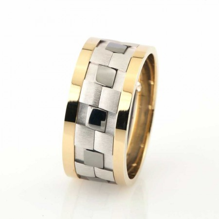 - Klasik Damalı Tasarım Gri-Gold Renk 925 Ayar Gümüş Erkek Alyans