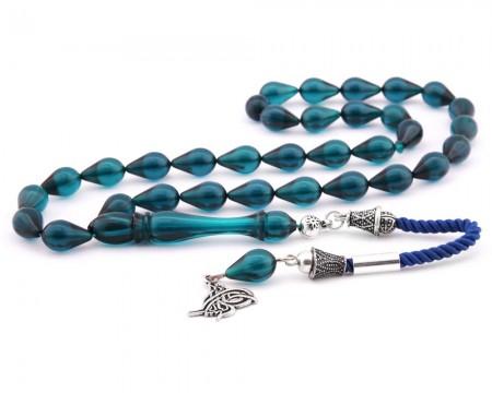 Tesbihane - 925 Ayar Gümüş Tuğra Püsküllü Damla Kesim Mavi Sıkma Kehribar Tesbih