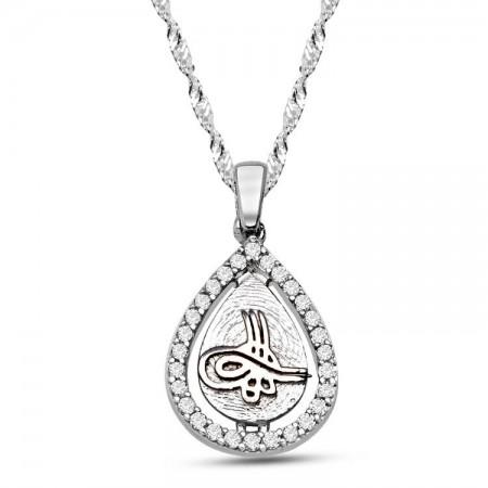 Tesbihane - 925 Ayar Gümüş Damla Model Tuğra Kolye (PTK0001)