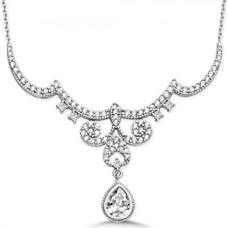 - 925 Ayar Gümüş Damla Zirkon Taşlı Kraliçe Gerdanlık