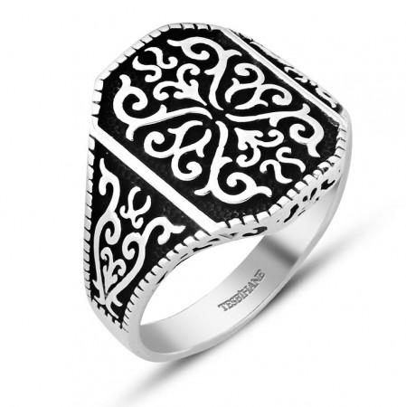 Tesbihane - 925 Ayar Gümüş Dekoratif Yüzük