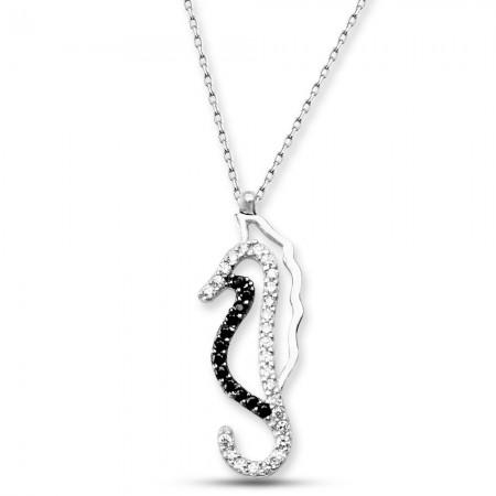 - 925 Ayar Gümüş Deniz Atı Kolye