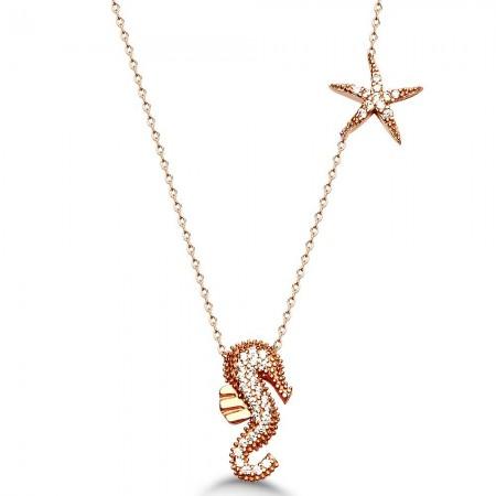 - 925 Ayar Gümüş Deniz Atı ve Deniz Yıldızı Kolye