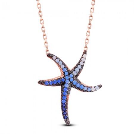 Tesbihane - 925 Ayar Gümüş Deniz Yıldızı Kolye