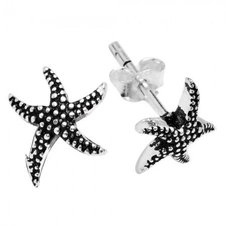 Tesbihane - 925 Ayar Gümüş Deniz Yıldızı Küpe