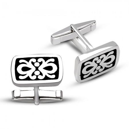 - 925 Ayar Gümüş Desenli Kol Düğmesi