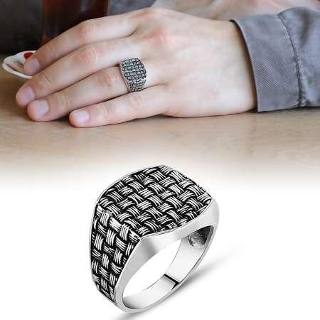 Tesbihane - Sentetik Taşlı 925 Ayar Gümüş Düğüm Yüzük