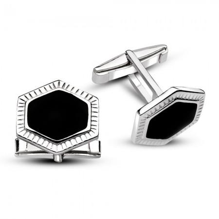 - 925 Ayar Gümüş Düz Siyah Mineli Kol Düğmesi
