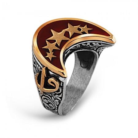 - 925 Ayar Gümüş Elif Vav Detay Yıldız İşlemeli Hilal Yüzük