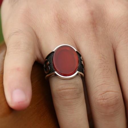 Tesbihane - 925 Ayar Gümüş Elif Vav Oval Kırmızı Akik Taşlı Yüzük