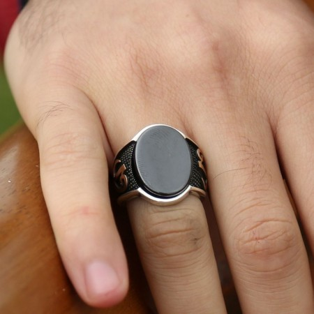 Tesbihane - 925 Ayar Gümüş Elif Vav Oval Oniks Taşlı Yüzük