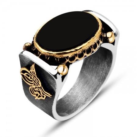 Tesbihane - 925 Ayar Gümüş Elişi Oniks Taşlı Tuğralı Yüzük