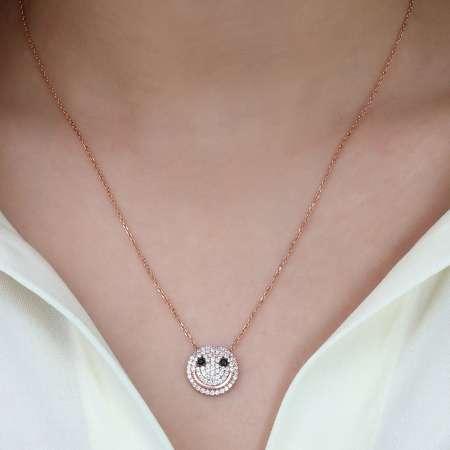 Beyaz Zirkon Taşlı Emoji 925 Ayar Gümüş Bayan Kolye - Thumbnail