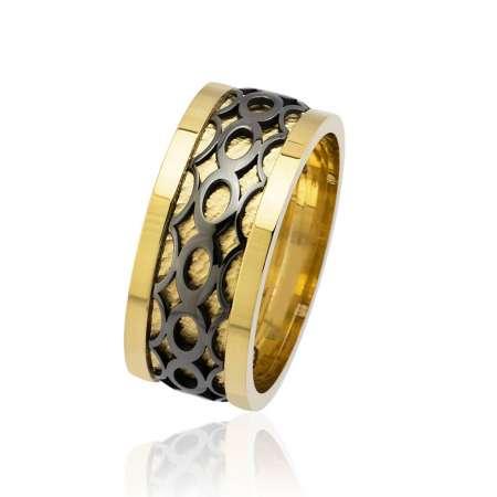 Tesbihane - Sonsuzluk Desen Motifli Gold-Siyah Renk 925 Ayar Gümüş Erkek Alyans