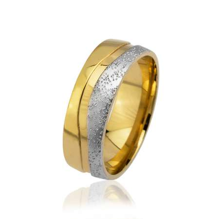 - Su Yolu Tasarım Gold-Gri Renk 925 Ayar Gümüş Erkek Alyans