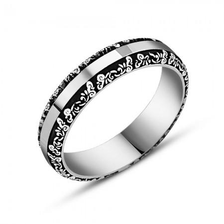 Tesbihane - 925 Ayar Gümüş Erkek Alyans (Model-12)