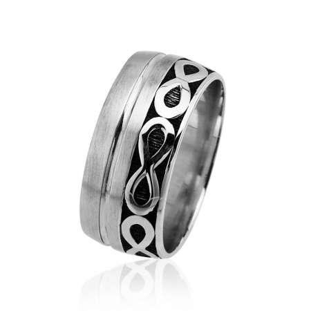 Tesbihane - Sonsuzluk Desen Motifli Gri Renk 925 Ayar Gümüş Erkek Alyans